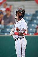 Florida Fire Frogs center fielder Cristian Pache (25) on deck during a game against the Palm Beach Cardinals on May 1, 2018 at Osceola County Stadium in Kissimmee, Florida.  Florida defeated Palm Beach 3-2.  (Mike Janes/Four Seam Images)