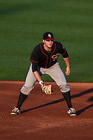 Quad Cities River Bandits first baseman A.J. Reed (18) during a game against the Cedar Rapids Kernels on August 18, 2014 at Perfect Game Field at Veterans Memorial Stadium in Cedar Rapids, Iowa.  Cedar Rapids defeated Quad Cities 5-3.  (Mike Janes/Four Seam Images)