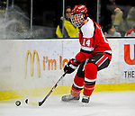 3 January 2009: St. Lawrence Saints' defenseman Jeff Caister (14), a Junior from Mississauga, Ontario, in action against the University of Vermont Catamounts during the championship game of the Catamount Cup Ice Hockey Tournament at Gutterson Fieldhouse in Burlington, Vermont. The Cats defeated the Saints 4-0 and won the tournament for the second time since its inception in 2005...Mandatory Photo Credit: Ed Wolfstein Photo