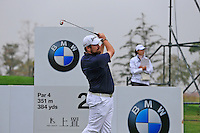 Shane Lowry (IRL) tees off the 2nd tee during Saturay's Round 3 of the 2014 BMW Masters held at Lake Malaren, Shanghai, China. 1st November 2014.<br /> Picture: Eoin Clarke www.golffile.ie