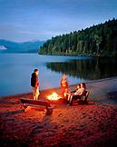 USA, Idaho, family camping by Priest Lake