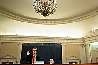 "Marie Yovanovitch, former U.S. Ambassador to Ukraine, swears in to a House Intelligence Committee impeachment inquiry hearing in Washington, D.C., U.S., on Friday, Nov. 15, 2019. Yovanovitch testified in private on October 11 that she was called back to Washington after a ""concerted campaign"" by President Trump and his allies, including Rudy Giuliani, according to a transcript released later. <br /> Credit: Al Drago / Pool via CNP/AdMedia"