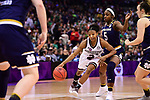 COLUMBUS, OH - APRIL 1: Morgan William #2 of the Mississippi State Bulldogs drives to the basket past Jackie Young #5 of the Notre Dame Fighting Irish during the championship game of the 2018 NCAA Division I Women's Basketball Final Four at Nationwide Arena in Columbus, Ohio. (Photo by Ben Solomon/NCAA Photos via Getty Images)