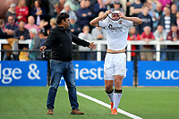 Michael Cheek, scorer of both Bromley goals, leaves the field after suffering an eye injury while scoring their second goal during Bromley vs Chesterfield, Vanarama National League Football at the H2T Group Stadium on 7th September 2019