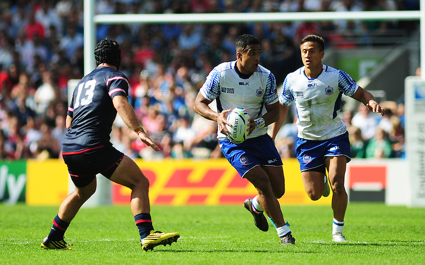 Samoa's Rey Lee-Lo in action during todays match<br /> <br /> Photographer Kevin Barnes/CameraSport<br /> <br /> Rugby Union - 2015 Rugby World Cup - Samoa v USA - Sunday 20th September 2015 - Brighton Community Stadium - Falmer - Brighton<br /> <br /> &copy; CameraSport - 43 Linden Ave. Countesthorpe. Leicester. England. LE8 5PG - Tel: +44 (0) 116 277 4147 - admin@camerasport.com - www.camerasport.com