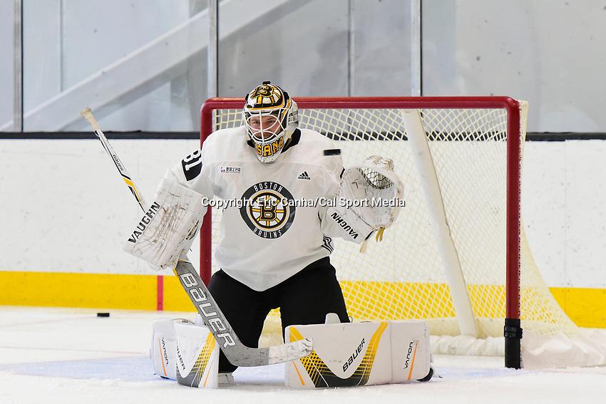 September 15, 2017: Boston Bruins goalie Zane McIntyre (31) tends the net during the Boston Bruins training camp held at Warrior Ice Arena in Brighton, Massachusetts. Eric Canha/CSM