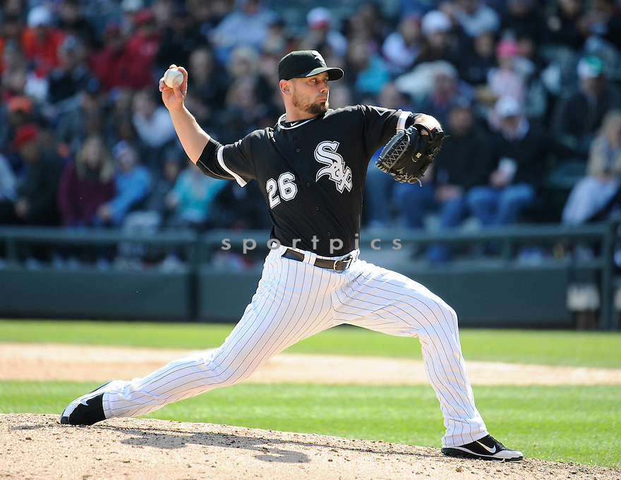 JESSE CRAIN, of the Chicago White Sox, in action during the Sox game against the Los Angeles Angels, on April 17, 2011 at US Cellular Field in Chicago, Illinois.  The Angels beat the Sox 4-2.