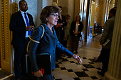 Senator Susan Collins, Republican of Maine, leaves the Senate floor on Capitol Hill in Washington, DC on September 25, 2018. Credit: Alex Edelman / CNP