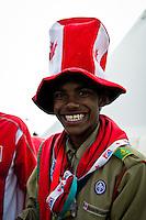 Canadian scout is having fun during the culture festival. Photo: Fredrik Sahlström/Scouterna