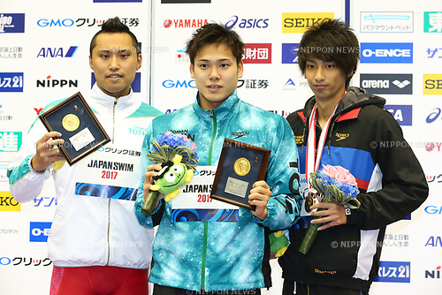 (L-R) Shinri Shioura, Katsumi Nakamura, Shunichi Nakao, <br /> APRIL 16, 2017 - Swimming : <br /> Japan swimming championship (JAPAN SWIM 2017) <br /> Men's 50m Freestyle Victory Ceremony <br /> at Nippon Gaishi Arena, Nagoya, Aichi, Japan. <br /> (Photo by Sho Tamura/AFLO SPORT)