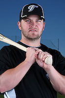 March 1, 2010:  Infielder Jarrett Hoffpauir (5) of the Toronto Blue Jays poses for a photo during media day at Englebert Complex in Dunedin, FL.  Photo By Mike Janes/Four Seam Images