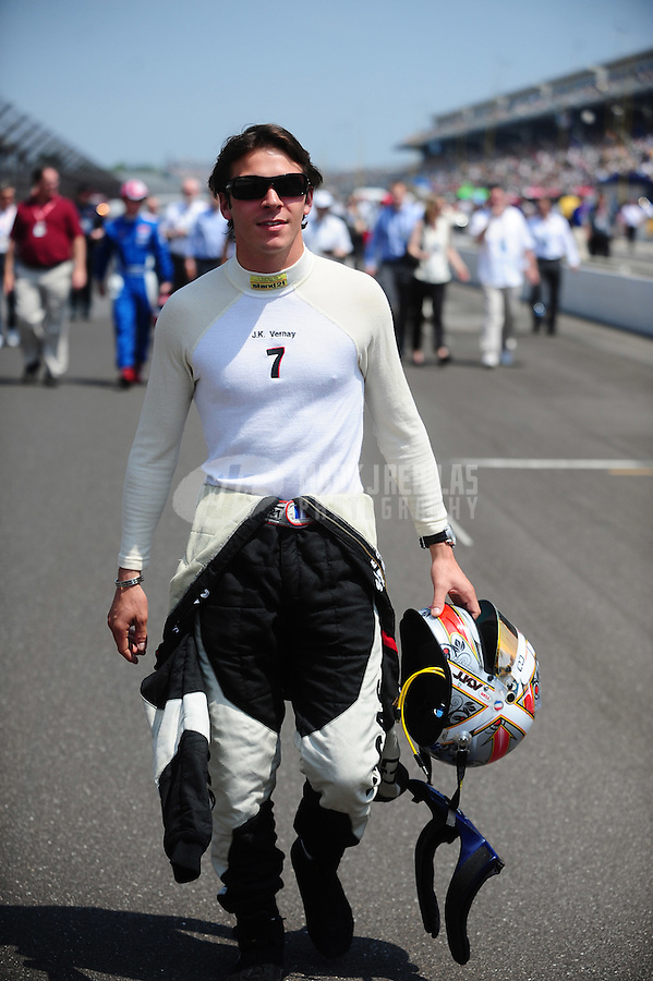 May 28, 2010; Indianapolis, IN, USA; Indy Light Series driver J.K. Vernay during the Freedom 100 at the Indianapolis Motor Speedway. Mandatory Credit: Mark J. Rebilas-