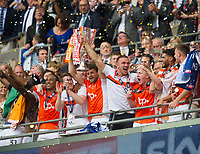 Blackpool players celebrating after winning the Sky Bet League 2 PLAY OFF FINAL match between Exeter City and Blackpool at Wembley Stadium, London, England on 28 May 2017. Photo by Andrew Aleksiejczuk.