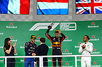 17th November 2019; Autodromo Jose Carlos Pace, Sao Paulo, Brazil; Formula One Brazil Grand Prix, Race Day; Second place, Pierre Gasly (FRA) Red Bull Racing RB15, first place Max Verstappen (NED) Red Bull Racing RB15 and third place Lewis Hamilton (GBR) Mercedes AMG F1 W10 - Editorial Use