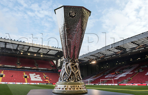 14.04.2016. Liverpool, England.  The trophy is seen on the sideline of the pitch prior to the UEFA Europa League quarter finals  match between Liverpool FC and Borussia Dortmund at the Anfield stadium in Liverpool, north west Britain 14 April 2016.