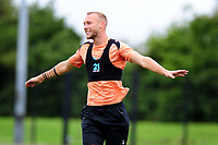 Mike van der Hoorn of Swansea City celebrates scoring during the Swansea City Training Session at The Fairwood Training Ground, Wales, UK. Tuesday 11th September 2018