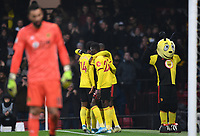 1st January 2020; Vicarage Road, Watford, Hertfordshire, England; English Premier League Football, Watford versus Wolverhampton Wanderers; Gerard Deulofeu of Watford celebrates with his team on scoring in 29th minute for 1-0- Strictly Editorial Use Only. No use with unauthorized audio, video, data, fixture lists, club/league logos or 'live' services. Online in-match use limited to 120 images, no video emulation. No use in betting, games or single club/league/player publications