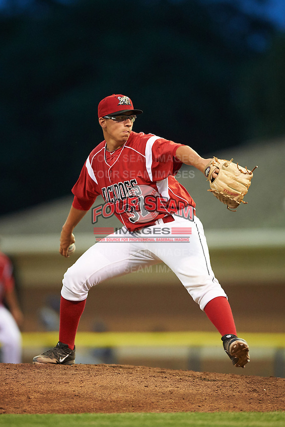 Batavia Muckdogs relief pitcher Alex Mateo (37) during a game against the Brooklyn Cyclones on July 6, 2016 at Dwyer Stadium in Batavia, New York.  Batavia defeated Brooklyn 15-2.  (Mike Janes/Four Seam Images)
