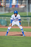 Cristian Santana (27) of the Ogden Raptors takes a lead from first base against the Orem Owlz in Pioneer League action at Lindquist Field on June 27, 2017 in Ogden, Utah. Ogden defeated Orem 14-5. (Stephen Smith/Four Seam Images)