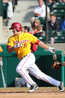 James Roberts (15) of the USC Trojans bats against the Jacksonville Dolphins at Dedeaux Field on February 19, 2012 in Los Angeles,California. USC defeated Jacksonville 4-3.(Larry Goren/Four Seam Images)