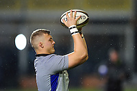 Jack Walker of Bath Rugby practises his lineout throws during the pre-match warm-up. Anglo-Welsh Cup match, between Bath Rugby and Gloucester Rugby on January 27, 2017 at the Recreation Ground in Bath, England. Photo by: Patrick Khachfe / Onside Images