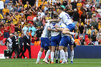 Tranmere Rovers FC celebrate their promotion to Division One at the final whistle during Newport County vs Tranmere Rovers, Sky Bet EFL League 2 Play-Off Final Football at Wembley Stadium on 25th May 2019