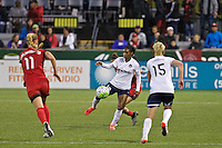Portland, OR - Saturday, May 21, 2016: Washington Spirit forward Crystal Dunn (19). The Portland Thorns FC defeated the Washington Spirit 4-1 during a regular season National Women's Soccer League (NWSL) match at Providence Park.