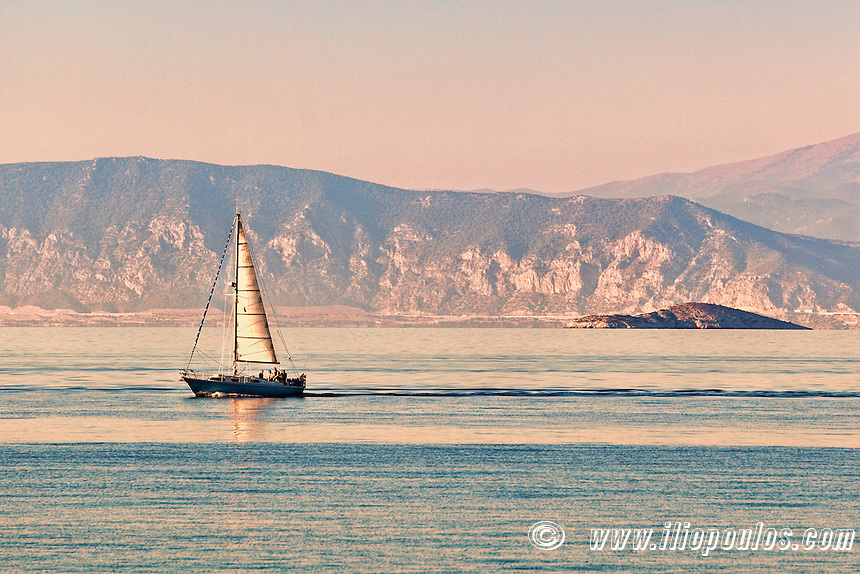 A sail boat in Agistri island, Greece
