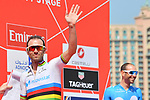 World Champion Alejandro Valverde (ESP) Movistar Team signs on before the start of Stage 4 of the 2019 UAE Tour, running 197km form The Pointe Palm Jumeirah to Hatta Dam, Dubai, United Arab Emirates. 26th February 2019.<br /> Picture: LaPresse/Massimo Paolone | Cyclefile<br /> <br /> <br /> All photos usage must carry mandatory copyright credit (© Cyclefile | LaPresse/Massimo Paolone)