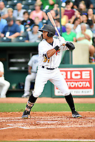 Northern Divisions right fielder Cal Mitchell (34) of the West Virginia Power a pitch during the South Atlantic League All Star Game at First National Bank Field on June 19, 2018 in Greensboro, North Carolina. The game Southern Division defeated the Northern Division 9-5. (Tony Farlow/Four Seam Images)