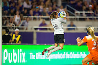Orlando, Florida - Saturday, April 23, 2016: Houston Dash goalkeeper Lydia Williams (18) during an NWSL match between Orlando Pride and Houston Dash at the Orlando Citrus Bowl.