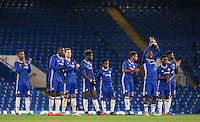 Chelsea celebrate a penalty during the The Checkatrade Trophy match between Chelsea U23 and Oxford United at Stamford Bridge, London, England on 8 November 2016. Photo by Andy Rowland.