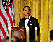 United States President Barack Obama makes remarks at a dinner he and first lady Michelle Obama are hosting to honor our Armed Forces who served in Operation Iraqi Freedom and Operation New Dawn and to honor their families in the East Room of the White House in Washington, D.C. on Wednesday, February 29, 2012..Credit: Ron Sachs / Pool via CNP