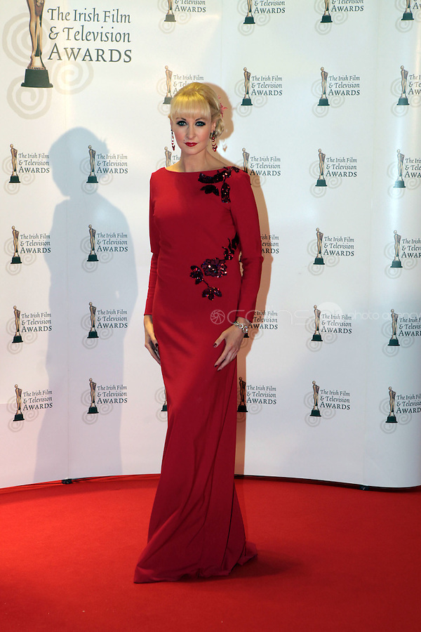 12/2/11 RTE's Emma O'Driscoll on the red carpet at the 8th Irish Film and Television Awards at the Convention centre in Dublin. Picture:Arthur Carron/Collins