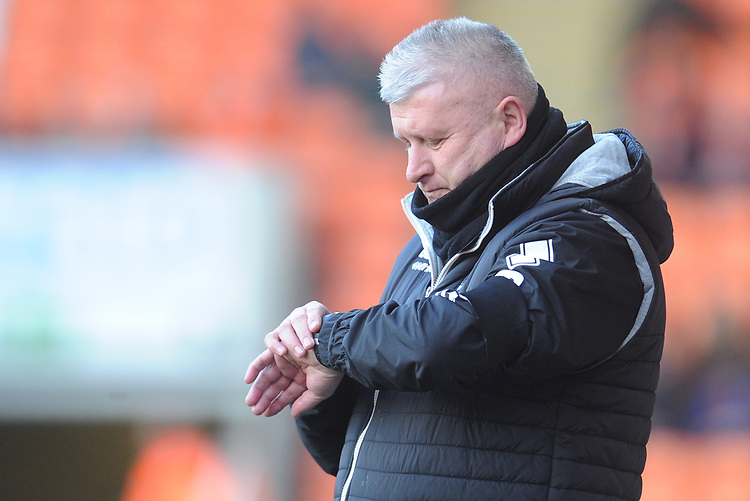 Blackpool's Manager Terry McPhillips checks his watch<br /> <br /> Photographer Kevin Barnes/CameraSport<br /> <br /> The EFL Sky Bet League One - Blackpool v Walsall - Saturday 9th February 2019 - Bloomfield Road - Blackpool<br /> <br /> World Copyright &copy; 2019 CameraSport. All rights reserved. 43 Linden Ave. Countesthorpe. Leicester. England. LE8 5PG - Tel: +44 (0) 116 277 4147 - admin@camerasport.com - www.camerasport.com