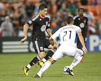 Pablo Hernandez #21 of D.C. United  gets by Jason Hernandez #21 of the San Jose Earthquakes during an MLS match at RFK Stadium in Washington D.C. on October 9 2010. San Jose won 2-0.
