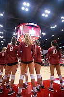STANFORD, CA - September 9, 2018: Kate Formico, Michaela Keefe, Holly Campbell, Mackenzie Fidelak, Payton Chang at Maples Pavilion. The Stanford Cardinal defeated #1 ranked Minnesota 3-1 in the Big Ten / PAC-12 Challenge.