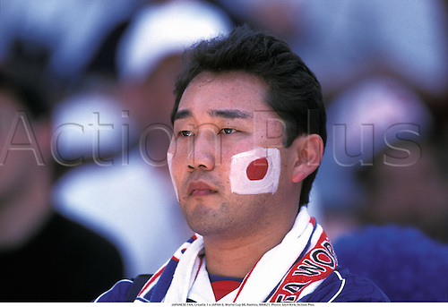 JAPANESE FAN, Croatia 1 v JAPAN 0, World Cup 98, Nantes, 980621. Photo: Glyn Kirk/Action Plus....1998.soccer.football.association.supporter.fan.face paints
