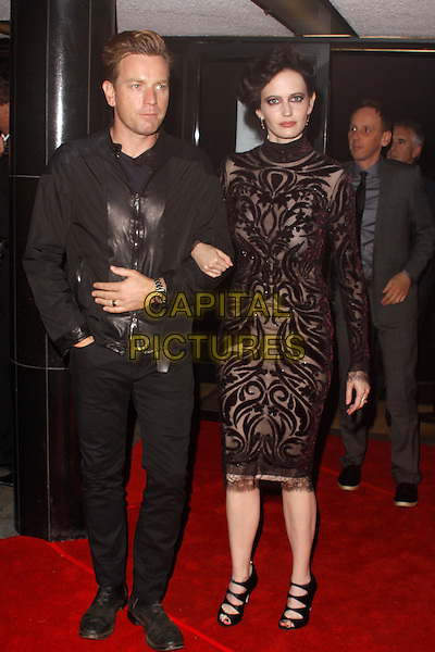 Ewen McGregor & Eva Green (wearing Emilio Pucci).'Perfect Sense' film UK premiere held at the Curzon Soho - Arrivals.London, England..October 4th, 2011.full length jacket black leather lace dress hair up jeans denim.CAP/AH.©Adam Houghton/Capital Pictures.