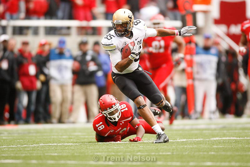 Trent Nelson  |  The Salt Lake Tribune.Colorado's DeVaughn Thornton broke free from Utah's Eric Rowe during the first quarter, Utah vs. Colorado, college football at Rice-Eccles Stadium in Salt Lake City, Utah, Friday, November 25, 2011
