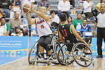 November 18 2011 - Guadalajara, Mexico:   David Eng of Team Canada protects the ball in the CODE Alcalde Sports Complex at the 2011 Parapan American Games in Guadalajara, Mexico.  Photos: Matthew Murnaghan/Canadian Paralympic Committee