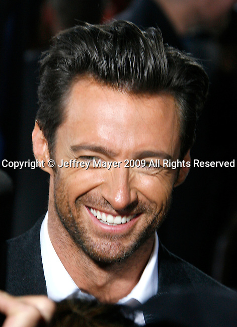 """HOLLYWOOD, CA. - April 28: Hugh Jackman arrives at """"X-Men Origins: Wolverine"""" Los Angeles Industry Screening at Grauman's Chinese Theatre on April 28, 2009 in Los Angeles, California."""