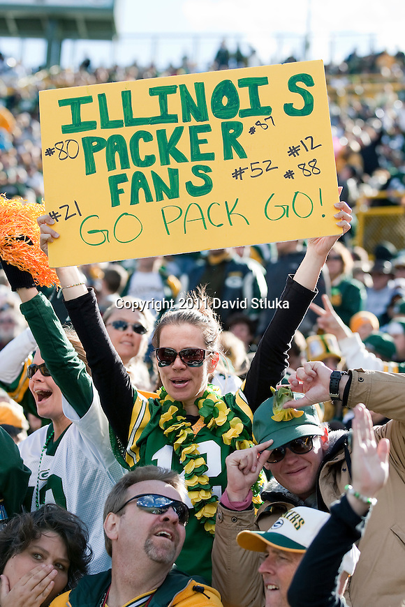 Green Bay Packers fan holds up a sign during a Week 6 NFL football game against the St. Louis Rams on October 16, 2011 in Green Bay, Wisconsin. The Packers won 24-3. (AP Photo/David Stluka)