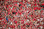 "Wisconsin Badgers fans ""Jump Around"" during an NCAA Big Ten Conference football game against the Maryland Terrapins Saturday, October 21, 2017, in Madison, Wis. The Badgers won 38-13. (Photo by David Stluka)"