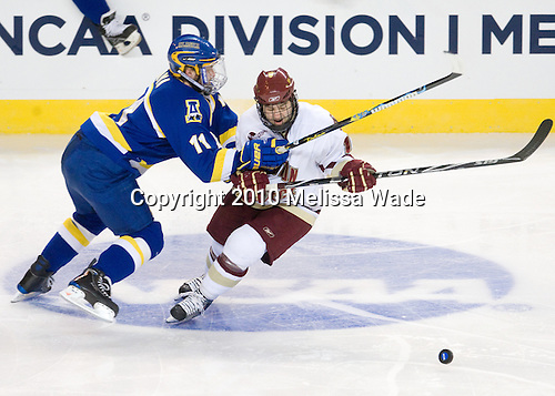 Joe Sova (Alaska-Fairbanks - 11), Joe Whitney (BC - 15) - The Boston College Eagles defeated the University of Alaska-Fairbanks Nanooks 3-1 (EN) in their NCAA Northeast Regional semi-final on Saturday, March 27, 2010, at the DCU Center in Worcester, Massachusetts.