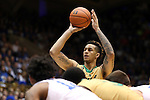 16 January 2016: Notre Dame's Zach Auguste shots a free throw. The Duke University Blue Devils hosted the University of Notre Dame Fighting Irish at Cameron Indoor Stadium in Durham, North Carolina in a 2015-16 NCAA Division I Men's Basketball game. Notre Dame won the game 95-91.