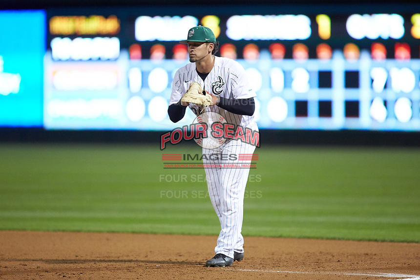 Charlotte 49ers first baseman Dominick Cammarata (24) on defense against the Clemson Tigers at BB&T BallPark on March 26, 2019 in Charlotte, North Carolina. The Tigers defeated the 49ers 8-5. (Brian Westerholt/Four Seam Images)