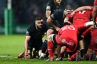 Elliott Stooke of Bath Rugby in action at a scrum. Heineken Champions Cup match, between Stade Toulousain and Bath Rugby on January 20, 2019 at the Stade Ernest Wallon in Toulouse, France. Photo by: Patrick Khachfe / Onside Images