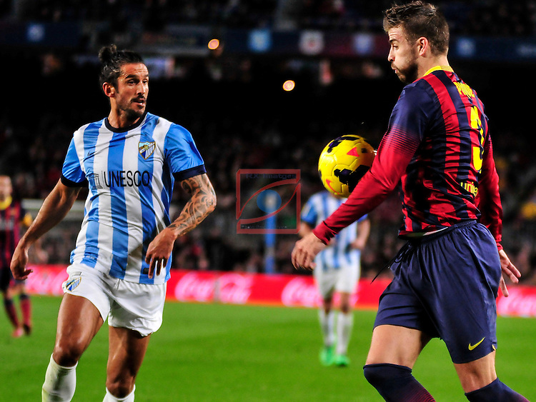 League BBVA 2013/2014 - Game: 21.<br /> FC Barcelona vs Malaga CF: 3-0.<br /> Angeleri vs Gerard Pique.