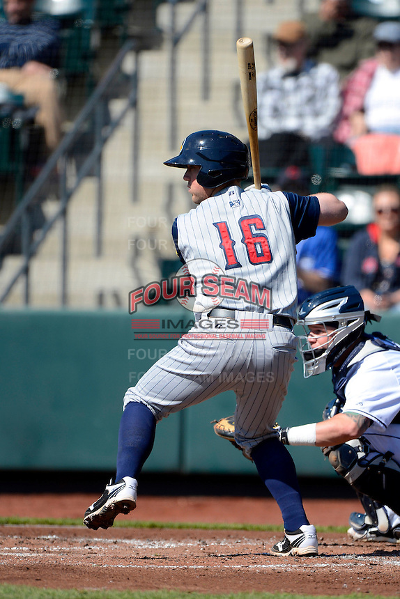 Toledo Mudhens catcher Bryan Holaday #16 during a game against the Columbus Clippers on April 22, 2013 at Huntington Park in Columbus, Ohio.  Columbus defeated Toledo 3-0.  (Mike Janes/Four Seam Images)